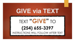 Image of instructions to text monetary donations or tithes